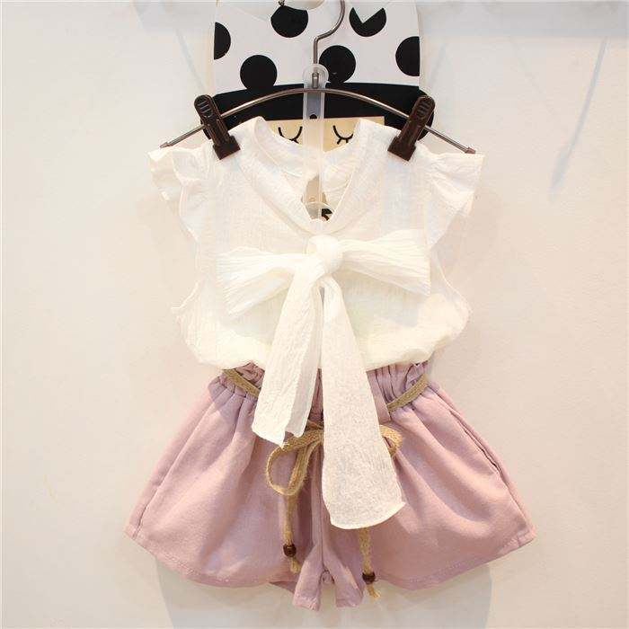 summer hot sale girl dress outfits with summer new sleeveless bow tie T - shirt tether belt shorts