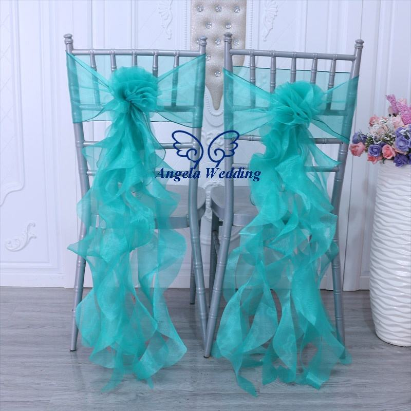 SH098W For sale beautiful turquoise green organza curly willow chair sash hood