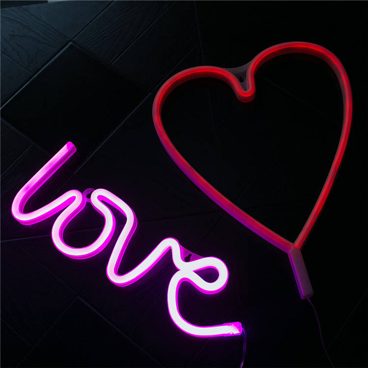 Custom 12 Volt Battery Powered Usb Wholesale Pink Small Neon Love Light For Sale Manufacturers