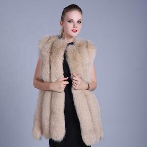 Yüksek Kalite Kadınlar Gerçek Tilki Kürk Jile Yelek Özelleştirilmiş bej Beyaz Kürk Yelek