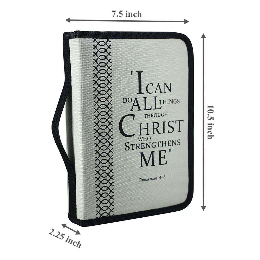 gentle devout Christian 100% cotton quilted black paisley zipper bible covers with exterior slip pocket for church