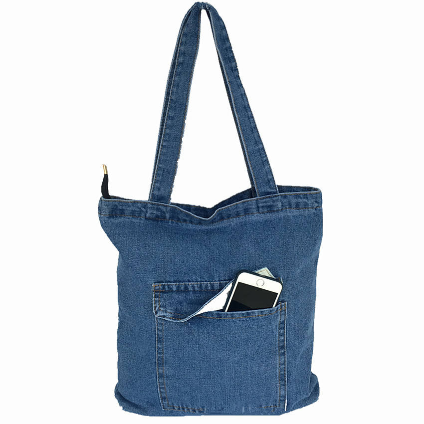 China Manufacture Durable Recycle Outdoor Customised Thick Denim Tote Handbag Bags