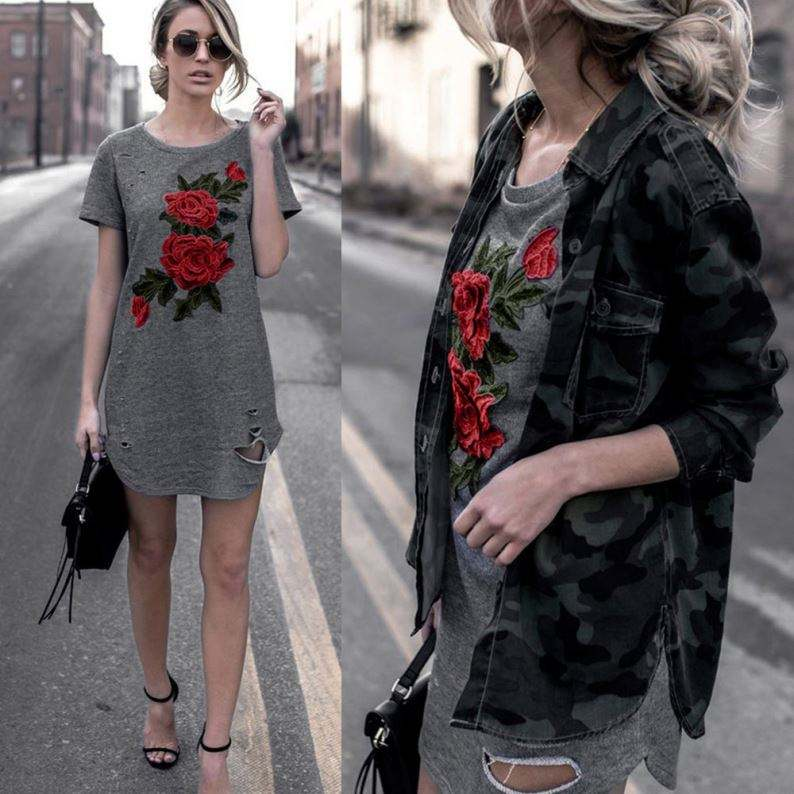 2017 Musim Panas Seksi Wanita Floral Bordir Kasual T Shirt Dress
