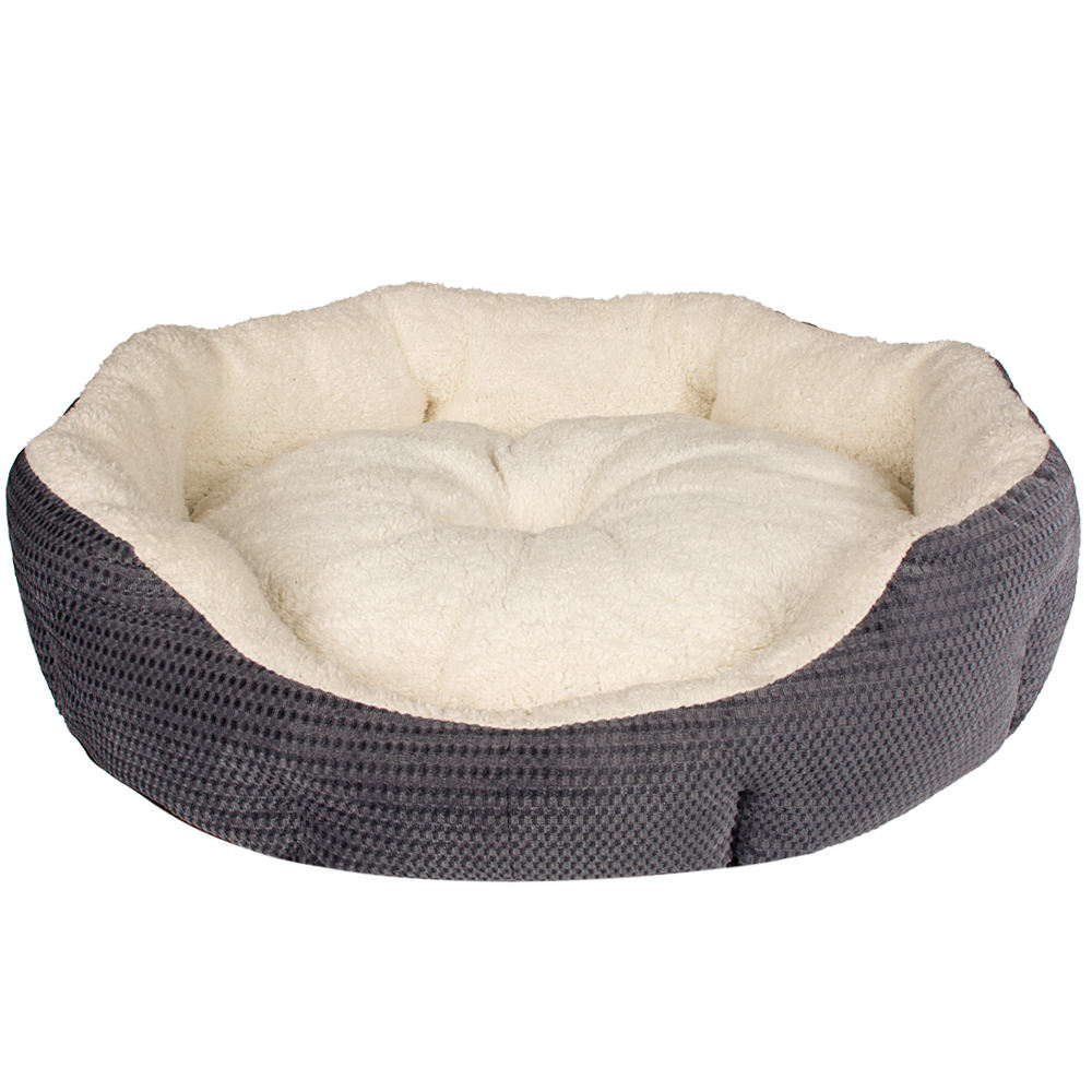 High Quality Modern Natual China Luxury Extra Large Faux Fur Hot Grey Round Cheap Small Pet Dog Cat Sofa Bed For Dog