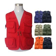 Men's multi pockets Cargo waistcoat vest for climbing shooting photography Hooking fisherman Journalist Fishing Vest