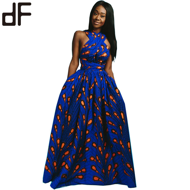 Wholesale batik long dress fashion african kitenge clothing printing design sexy party long maxi african dresses women