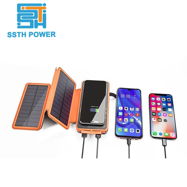 Camping Outdoor Smart 8000 MAh 10000 MAh Solar Powerbank Nirkabel, Charger Qi