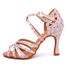 new products 2020 satin Dance Shoes Upper rhinestones dancing shoes women  ballroom heels Latin dance shoes Customize the heel