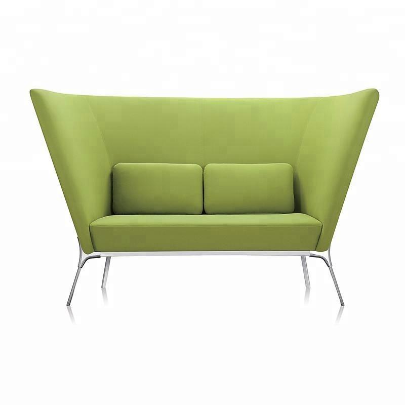 LS-038 2 plazas alta de cuero italiano de excelente calidad elegante tela sofá para uso de oficina