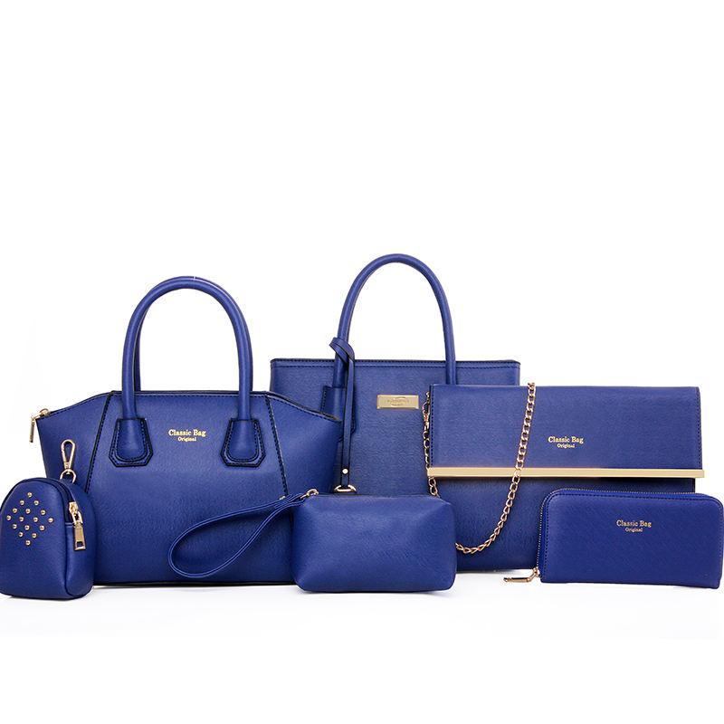 2018 suministro a granel de 6 unidades de la pu bolso de cuero monedero de las señoras bolsas de mano de moda clásico hombro bolsos de las mujeres conjunto de