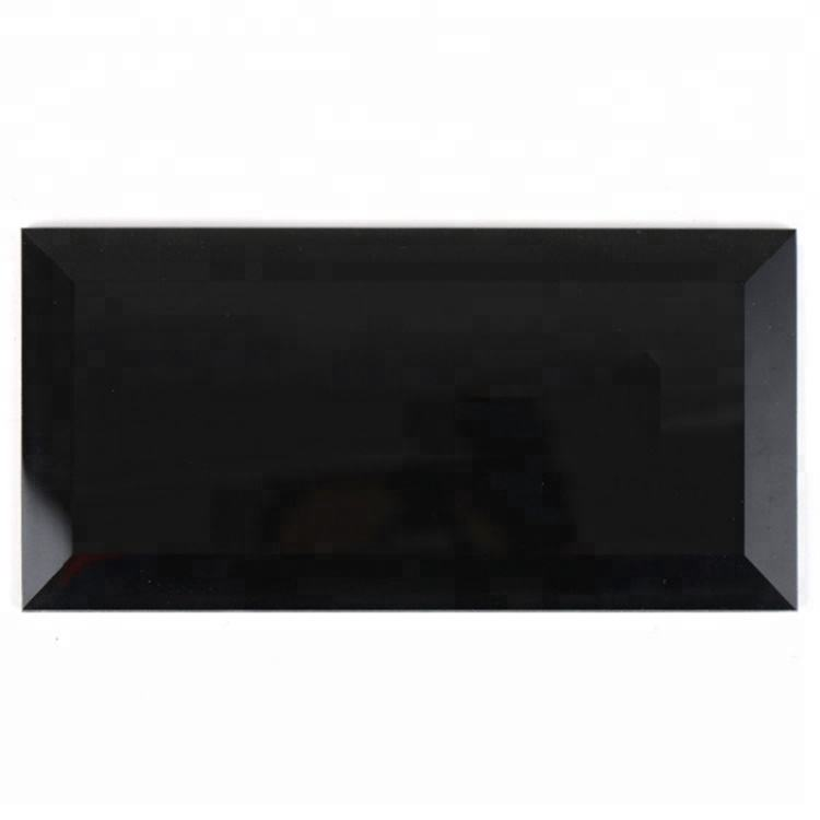 Negro brillante cristal subway <span class=keywords><strong>tile</strong></span> backsplash/decorativos azulejos 200x100mm