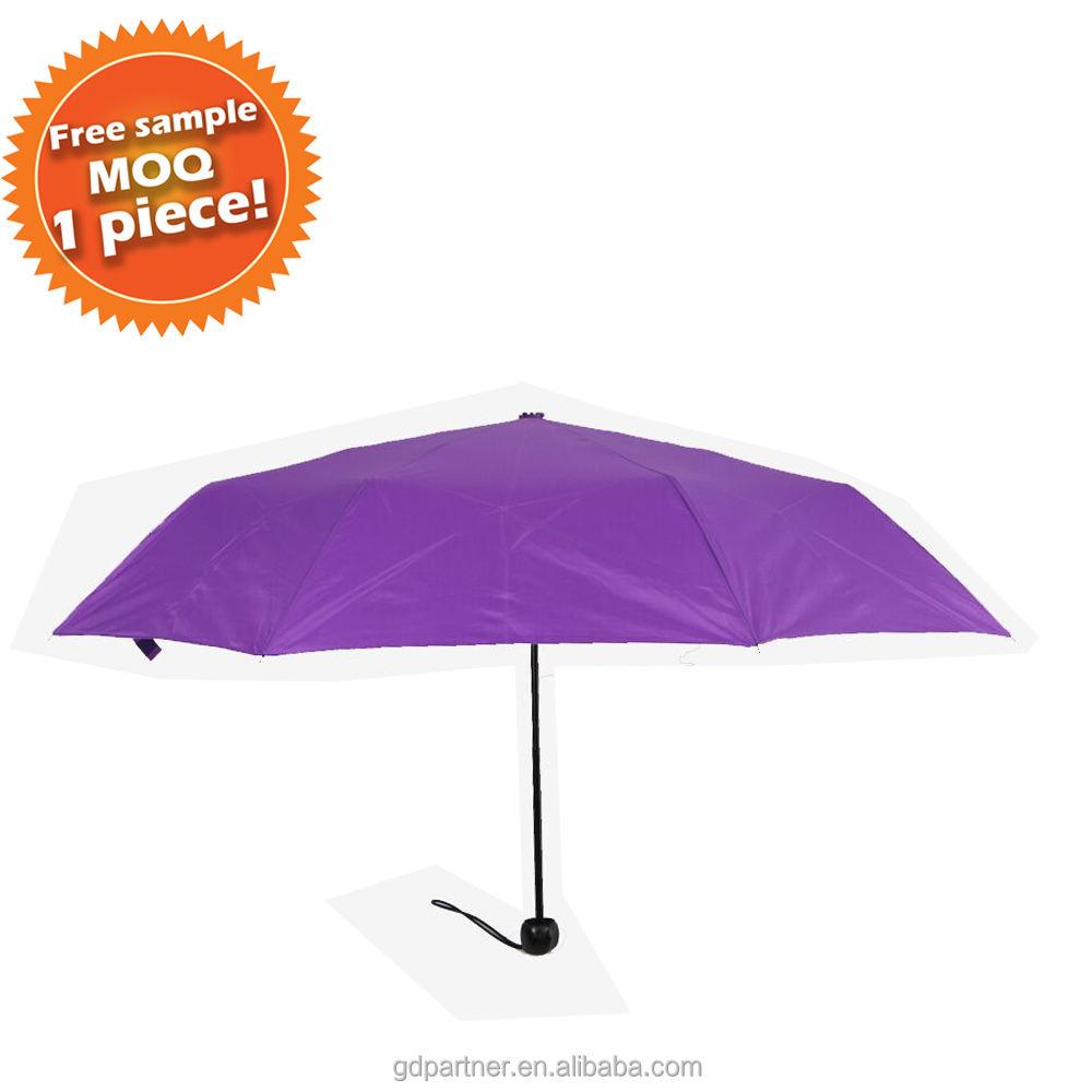 Маленький минимальный объем заказа цельный Компактный Зонт для путешествий с чехлом