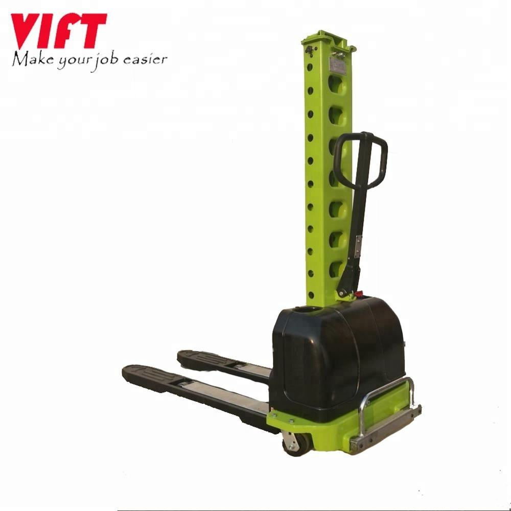 Vift high quality portable semi-electric self-load/unload 500kg pallet stacker with CE certificates
