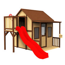 Outdoor backyard waterproof large Kid's Children House Garden Child Wood play house Kids Wooden Playhouse With Plastic Slide