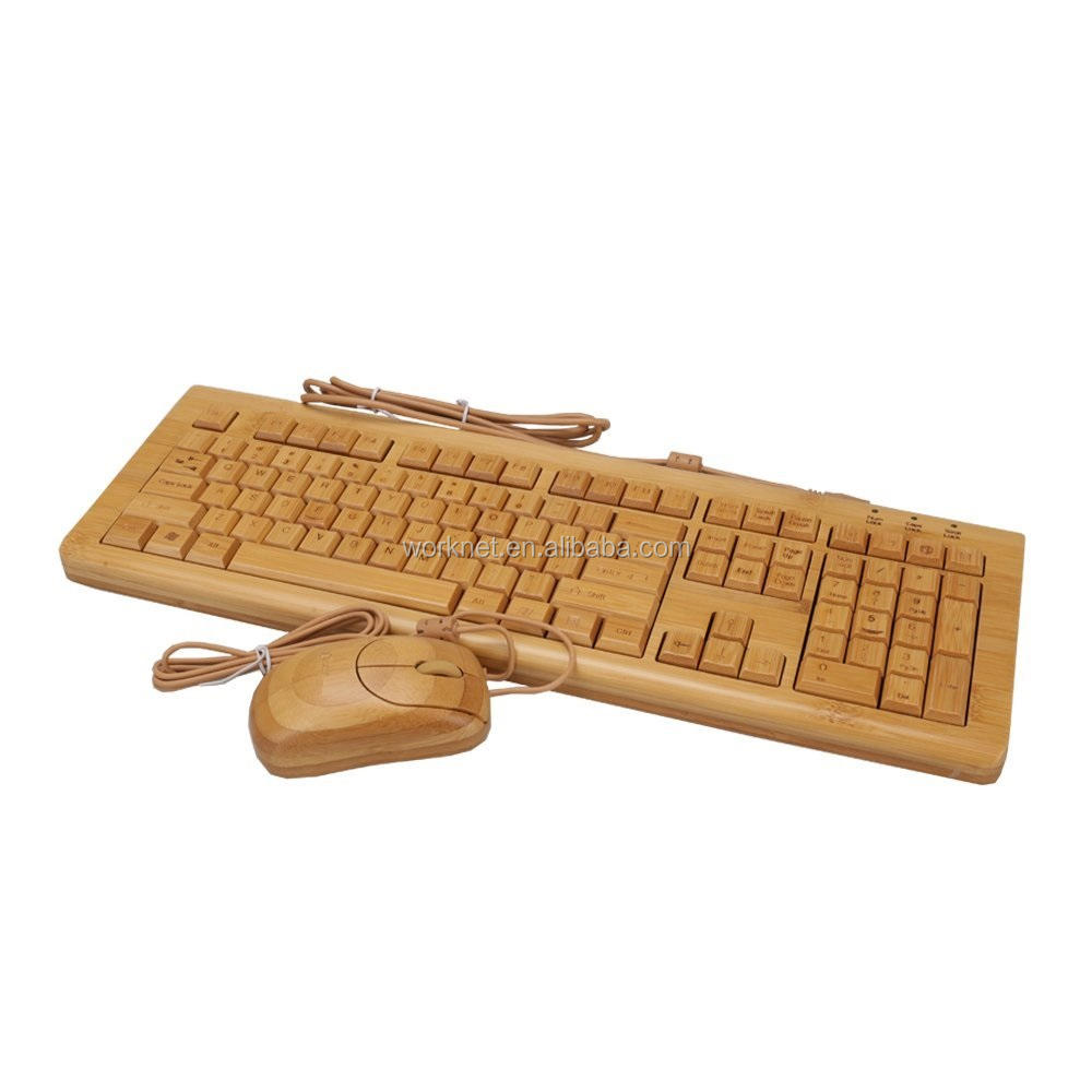 New electronics 에 중국 market natural 제 유선 bamboo 키보드 azerty french bamboo 키보드 및 마우스 combo