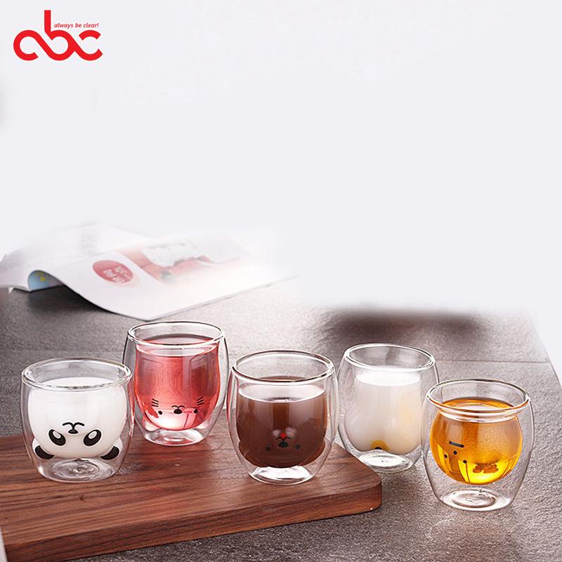 Heat Resistant Creative Cartoon Animal Head Shape Funny Double Wall Glass Coffee Tea Drinking Cup