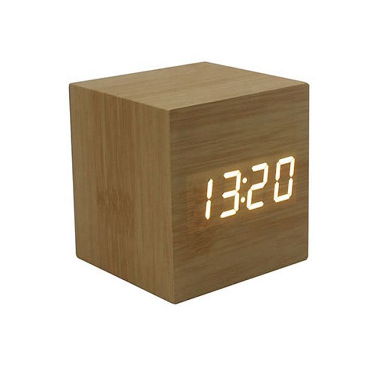 Promotional Desktop Different Colored Fonts Digital Thermometer Temperature Time and Date Roller Play Wooden Alarm Clock