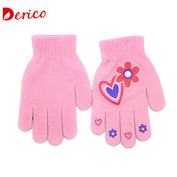 Cheap Winter Kids Applique of Flora with heart Knitted Magic Acrylic Gloves