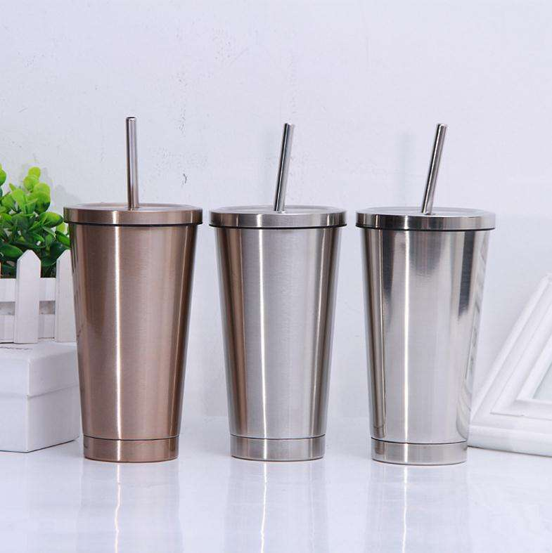 500ml portable straw tumbler cups double wall vacunm insulated stainless steel tumbler cup coffee mugs