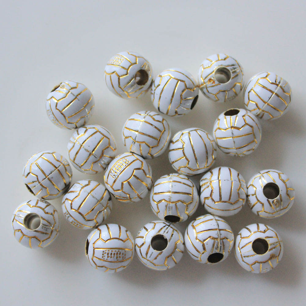 Promotional Sport Acrylics Balls Spacers Jewelry Making Supplies Softball Baseball Beads Round Football Soccer Ball Volley
