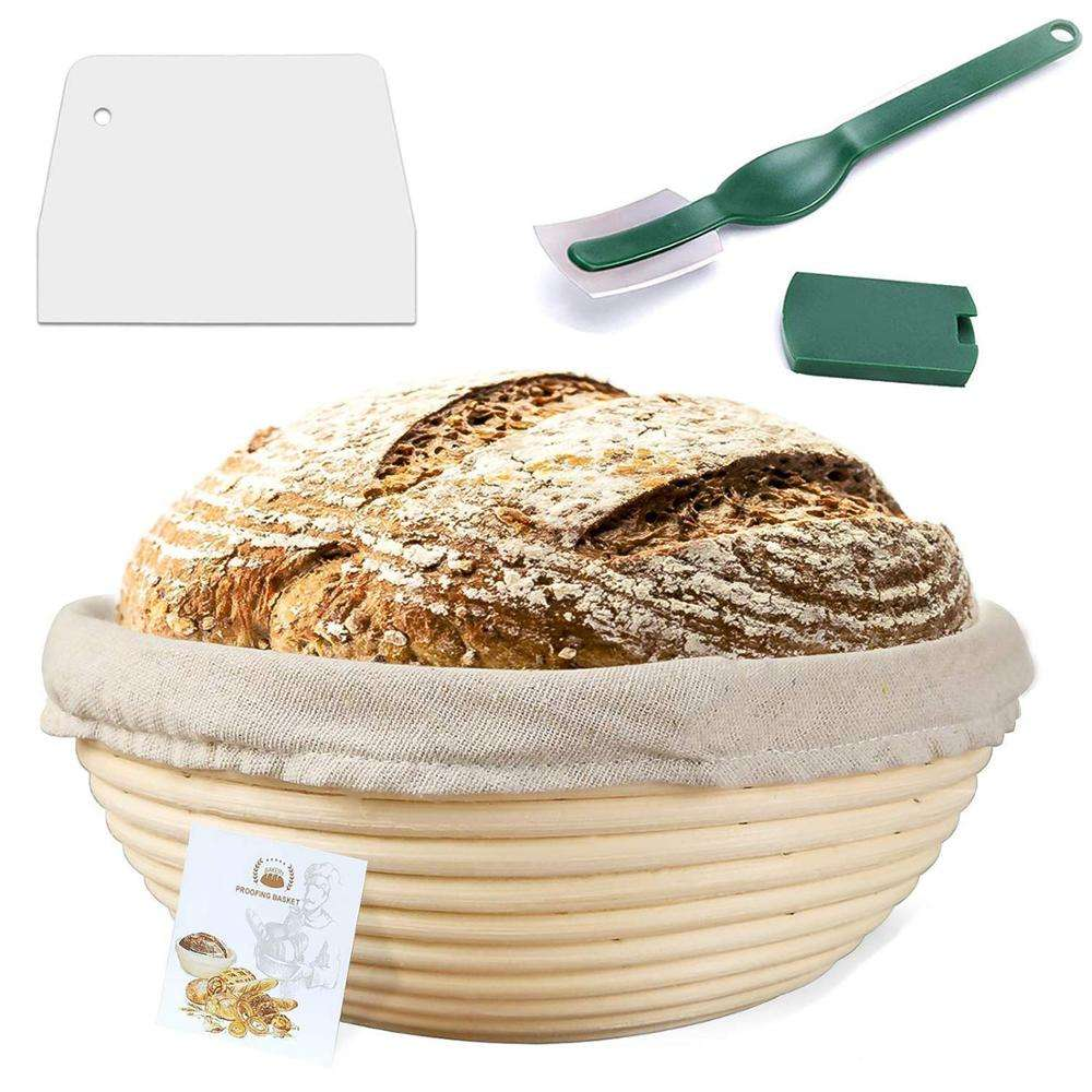 Amazon top selling 9/10inch round /oval rattan bread proofing basket with liner for risen dough