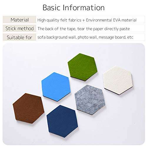Wall Decorative Tiles Stickers Hexagonal Self Adhesive Felt Bulletin Memo Photo Cork Boards With Pin