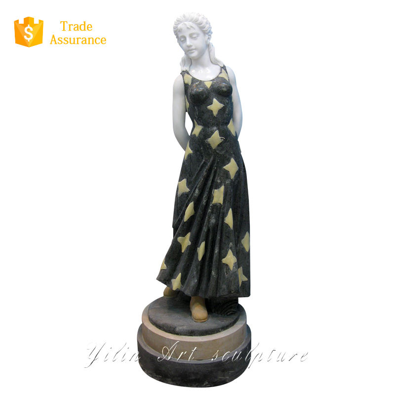 Natural Stone Garden Girl Statue Wearing The Green Skirt