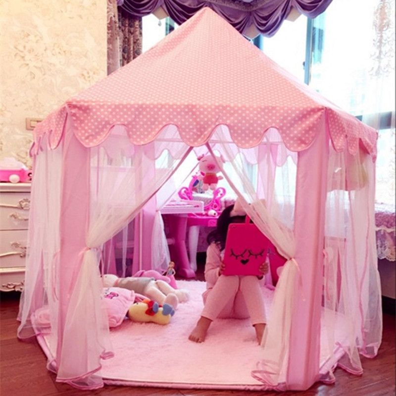 Wholesale Pink/Blue Castle Kids Play Tent Playhouse Great Birthday Gifts for 1-10 Years Old Children for Indoor & Outdoor Use