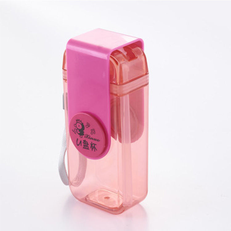 High Quality Unique Design Custom Foldable Square Plastic Water Bottle With Two Openings