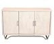 Sideboard Carved Doors White Washed Solid Mango Wood Curved