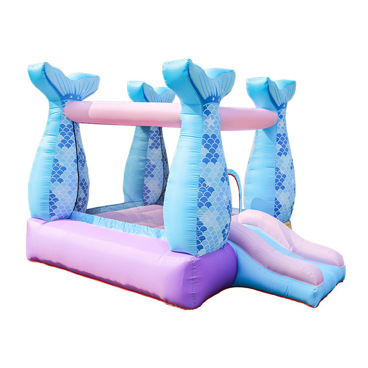 Mermaid Bouncer with blower commercial used Jumping castle bouncy castle white