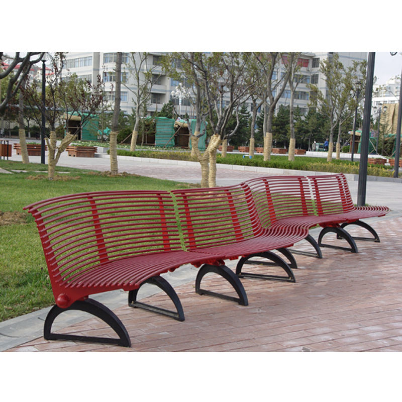 outdoor red curved garden bench for sale outside stainless steel tube park bench metal street seat shopping mall sitting seat