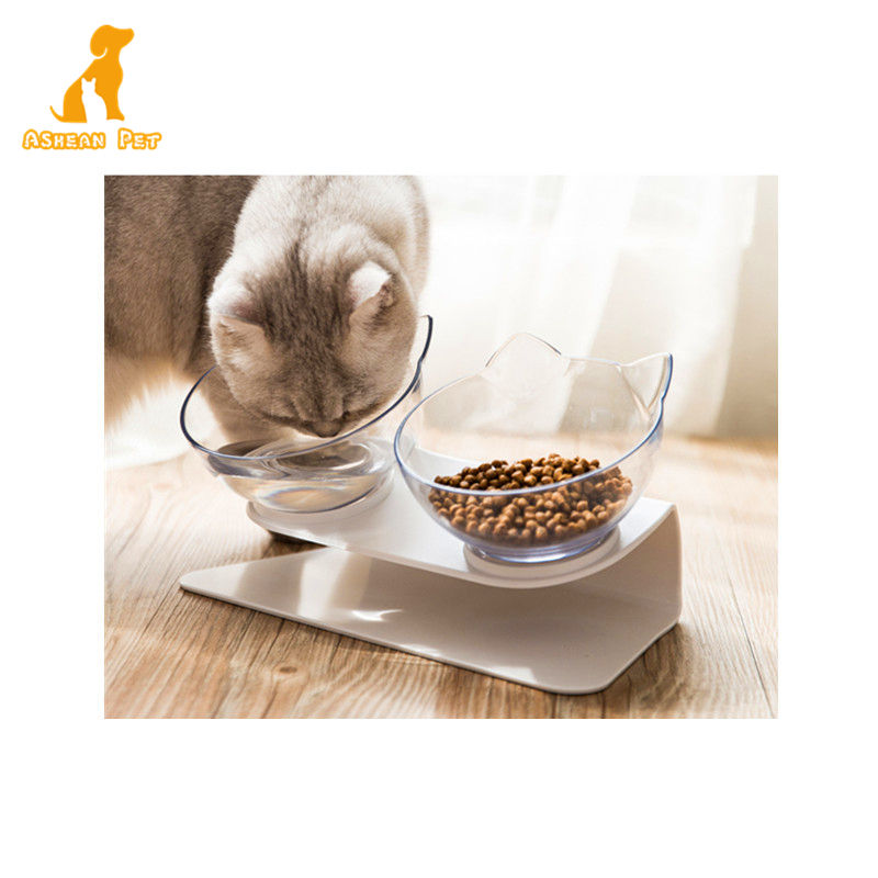 New Design Creative Cat Ear Shape Style Transparent Double Pet Dog Cat Bowls