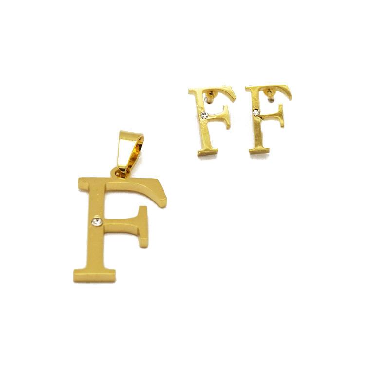 Personalizzato lettera di alfabeto 316l in acciaio inox collana orecchini set 24 k insieme dei monili in oro