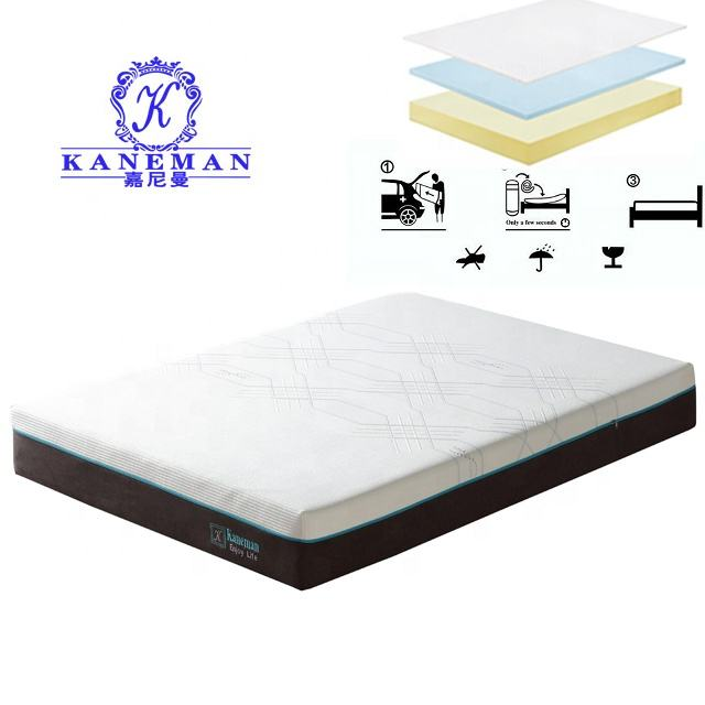 Bedroom OEM memory foam rolling pack queen hybrid bed with mattress
