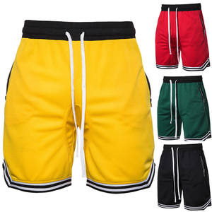 Men's summer breathable basketball shorts with zipper pockets