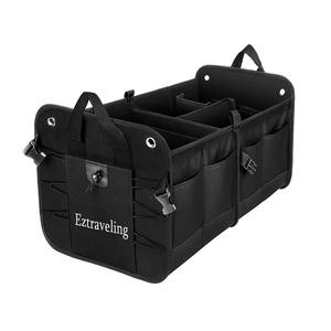 Eztraveling Collapsible Durable Polyester Car Boot Trunk Organizer For SUV Travel Heavy Duty Non-wlip Bottom Storage Organizer
