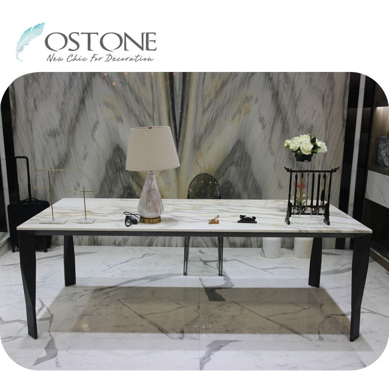 Luxury Elegant Furniture White Marble Office Table Marble Top Office Desk