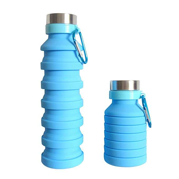 Wholesale Private Label BPA Free Expandable Collapsible Travel Sports Drink Silicone Foldable Water Bottle with Carabiner hook