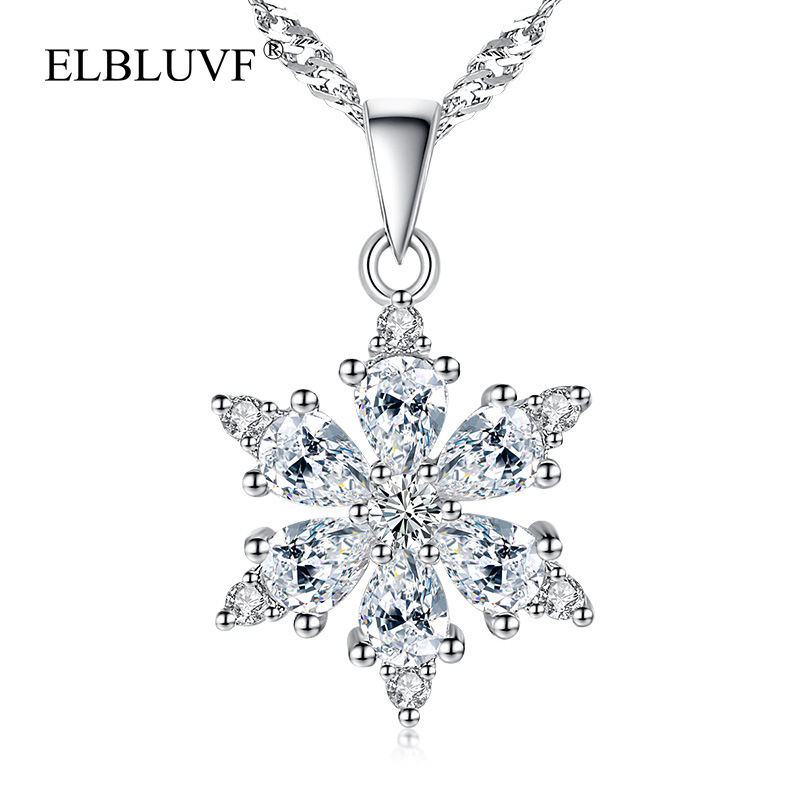 ELBLUVF Hot Sell Women 925 Sterling Silver Plated Copper Zircon Christmas Snowflake Crystal Pendant