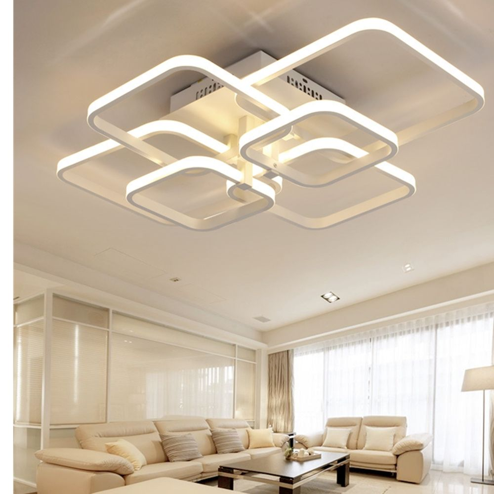 Dimmable Remote Control LED Chandelier 6 Heads 72W Acrylic Lights For Living Room Ceiling Lamp