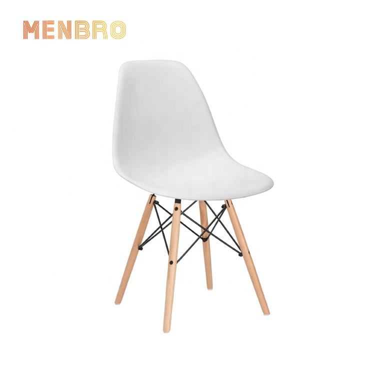 China Modern Nordic white Wooden frame Plastic set design hotel restaurant furniture chairs cafe Dining room Side Chair