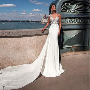 Elegant Ivory Lace Chiffon A-line Long Train 2019 Casual Beach Wedding Dress Bridal Gowns