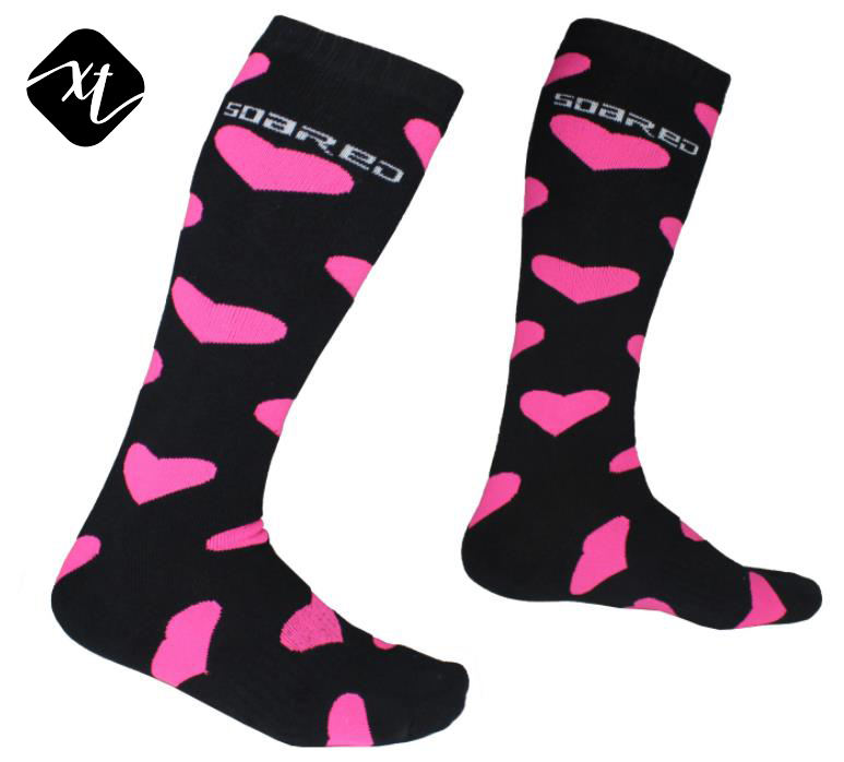 wholesale custom women heart skiing medical compression knee high running cycling sport socks