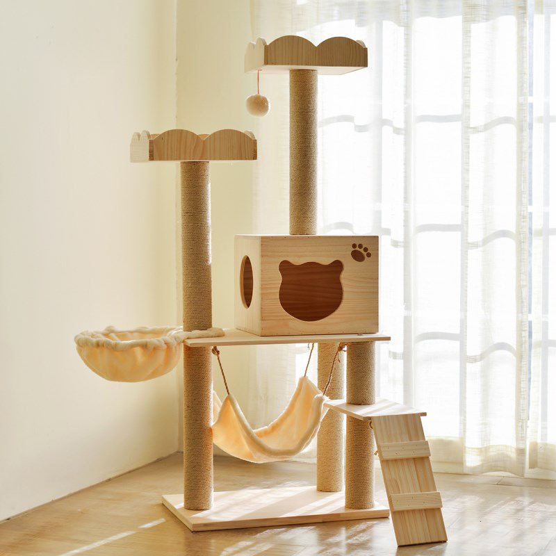 Solid Wood Pet Furniture Wooden Cat Climbing Tree House Scratcer