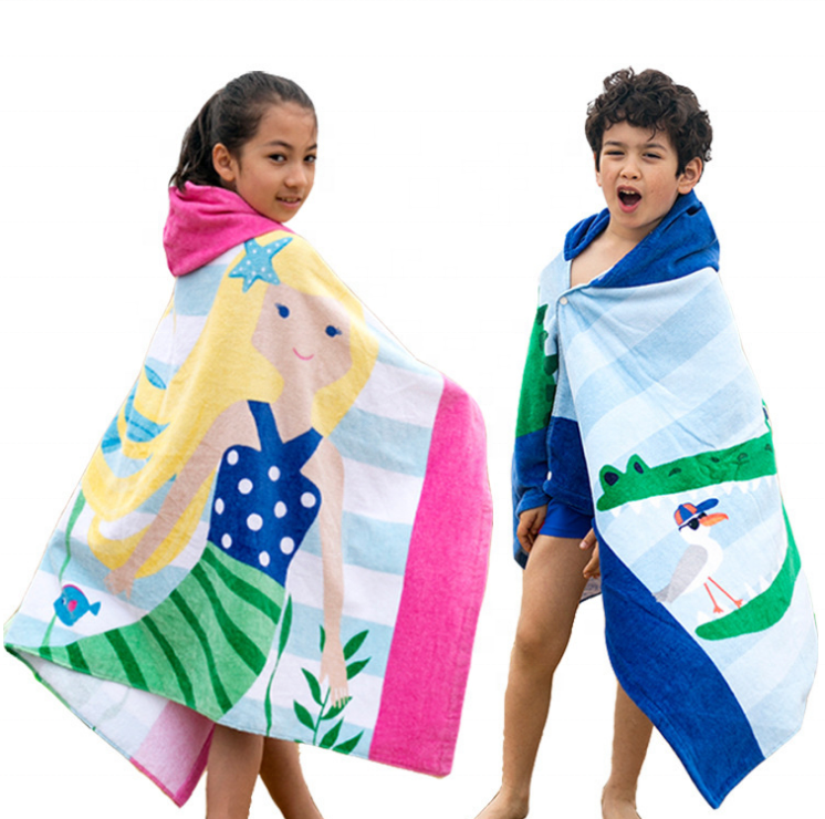 Wholesale organic cotton large kids beach towel with hooded for children