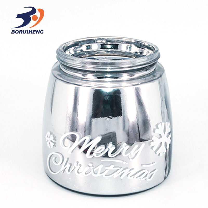Populares vidrio color candle holder plata decorar jar vela