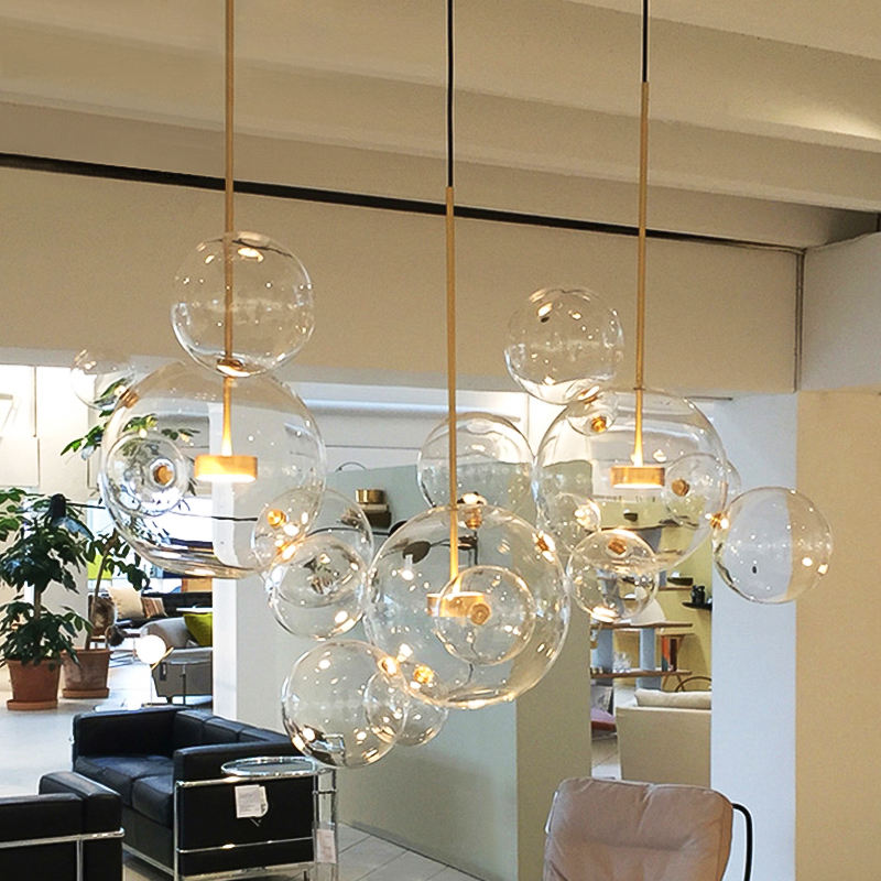 STOCK lights! Bubble Hanging pendant LED Glass chandelier lighting American Kitchen Dining Room Home Decor Lights ETL86159