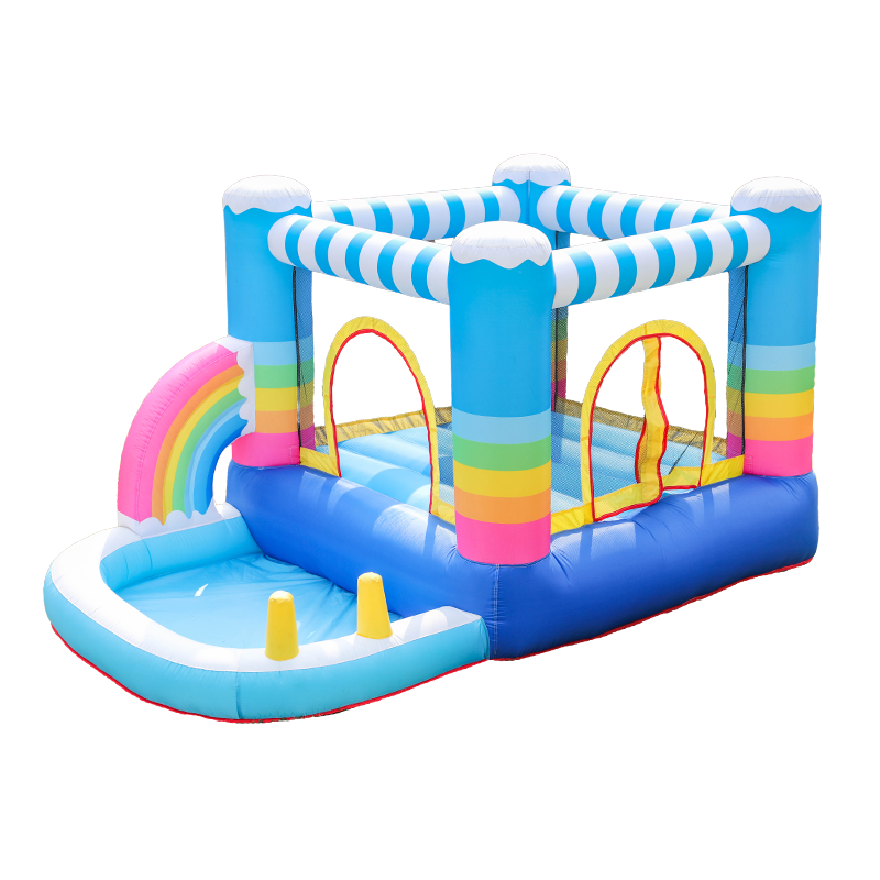 Nylon Customizable Outdoor Children Bounce Tarpaulin Inflatable Water Slide Into Pool Jumping Castle/House