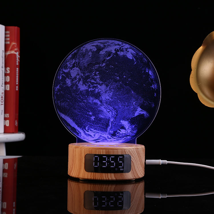 kids USB charge acrylic light sheet replaceable children gift alarm clock bluetooth speaker night light